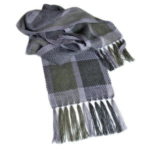 Silky soft handwoven alpaca scarf featuring a sophisticated twill diamond pattern in harmonious tones of silver, grey and charcoal.