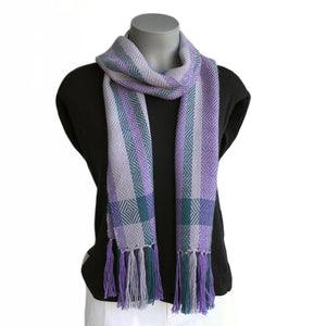 Silky soft handwoven alpaca scarf featuring a sophisticated twill diamond pattern in purple tones of lavender, silver, kingfisher and grey.