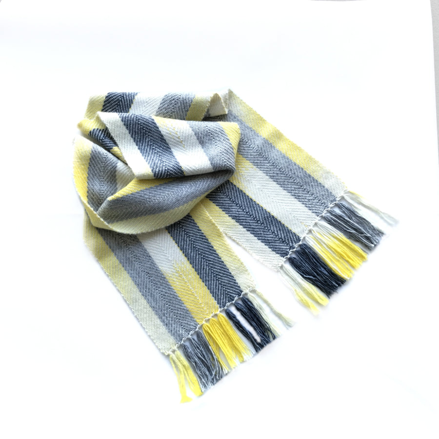 Yellow & Grey Watercolour Scarf in Alpaca