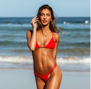 Savana triangle bikini top in red - Tshala Swim.