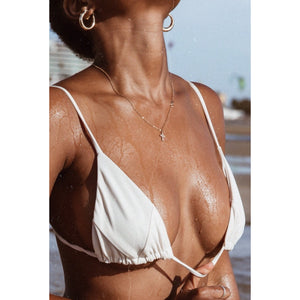 Savana triangle bikini top in cream - Tshala Swim.