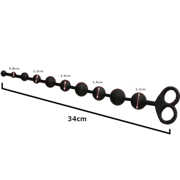 "13"" Silicone Anal Beads with Dual Pull Rings"