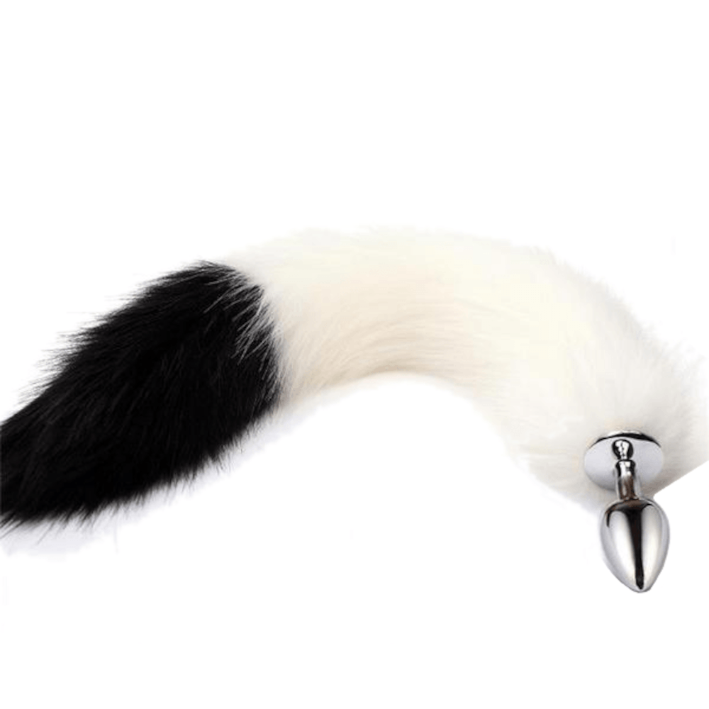 White with Black Fox Tail Stainless Steel Butt Plug