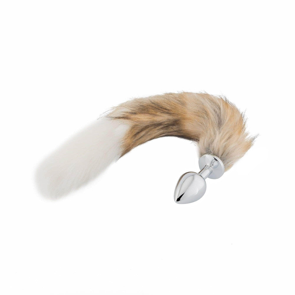 Fox Tail Metal Plug, Brown with White 18""