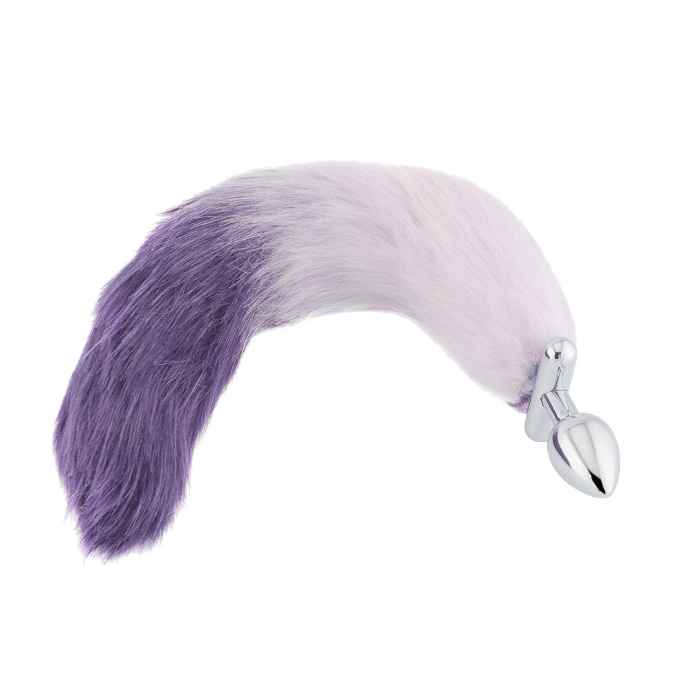 "18"" Screwed White With Purple Fox Tail Metal Butt Plug"