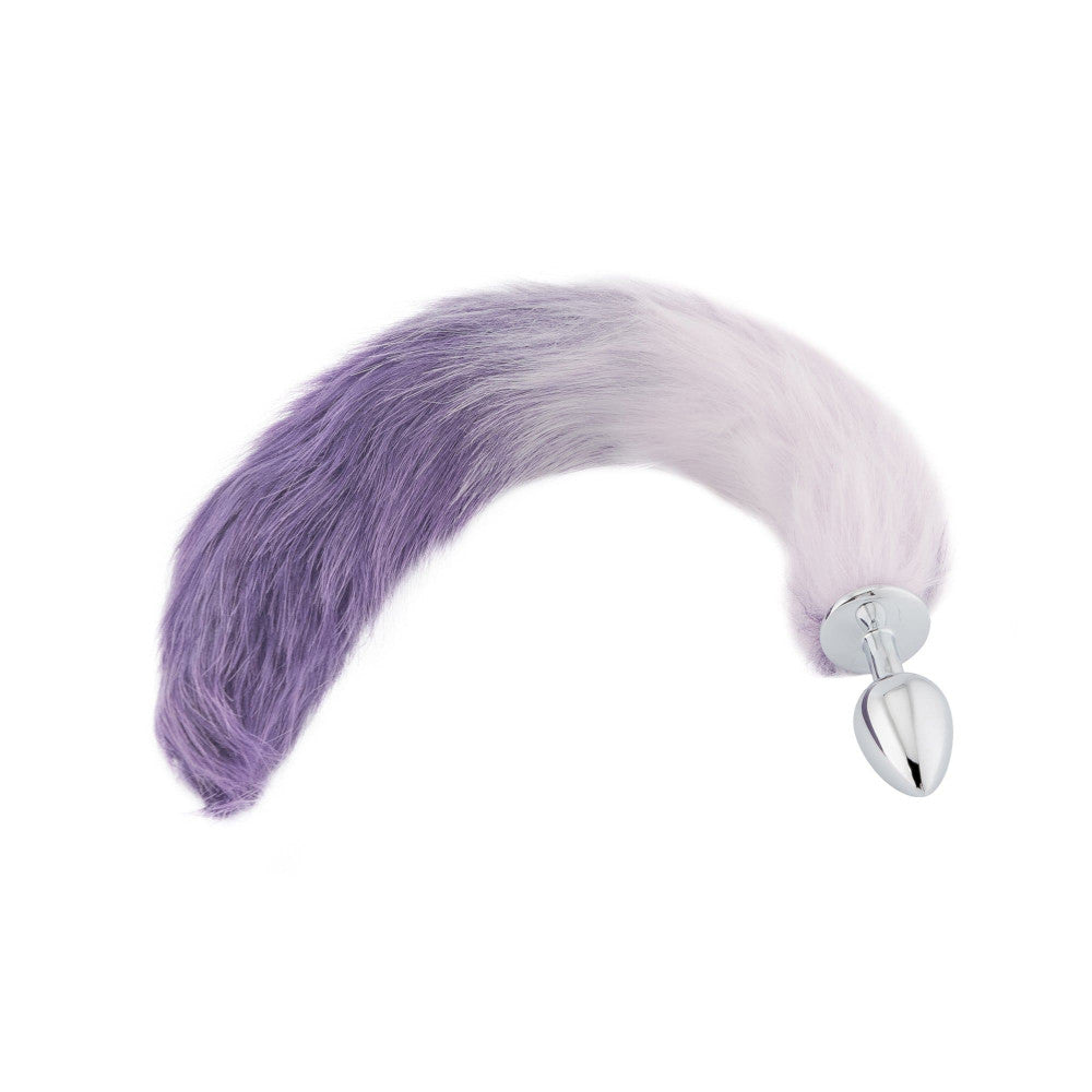 "18"" White With Purple Fox Tail Metal Butt Plug"