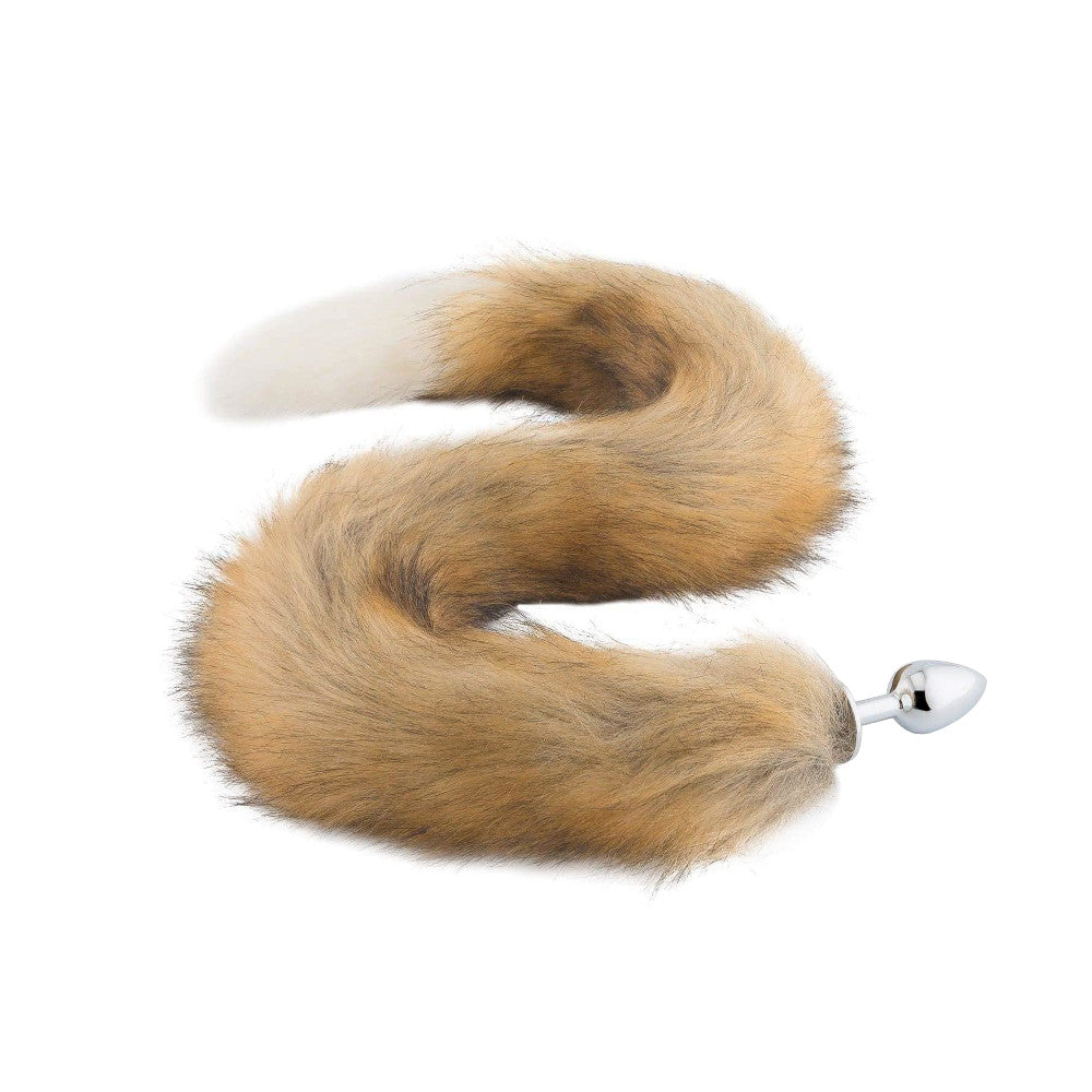 Fox Tail Stainless Steel Plug, Brown with White 32""