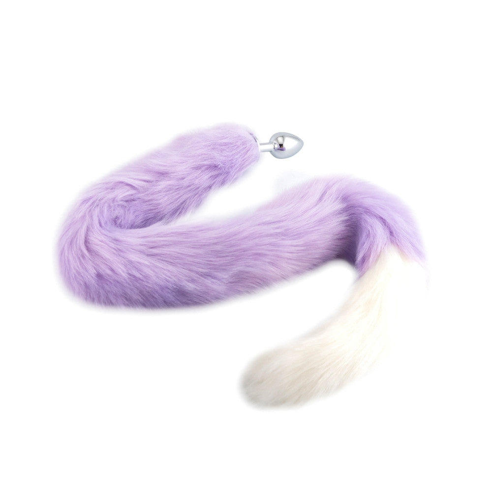 "32"" Purple With White Fox Tail Butt Plug"