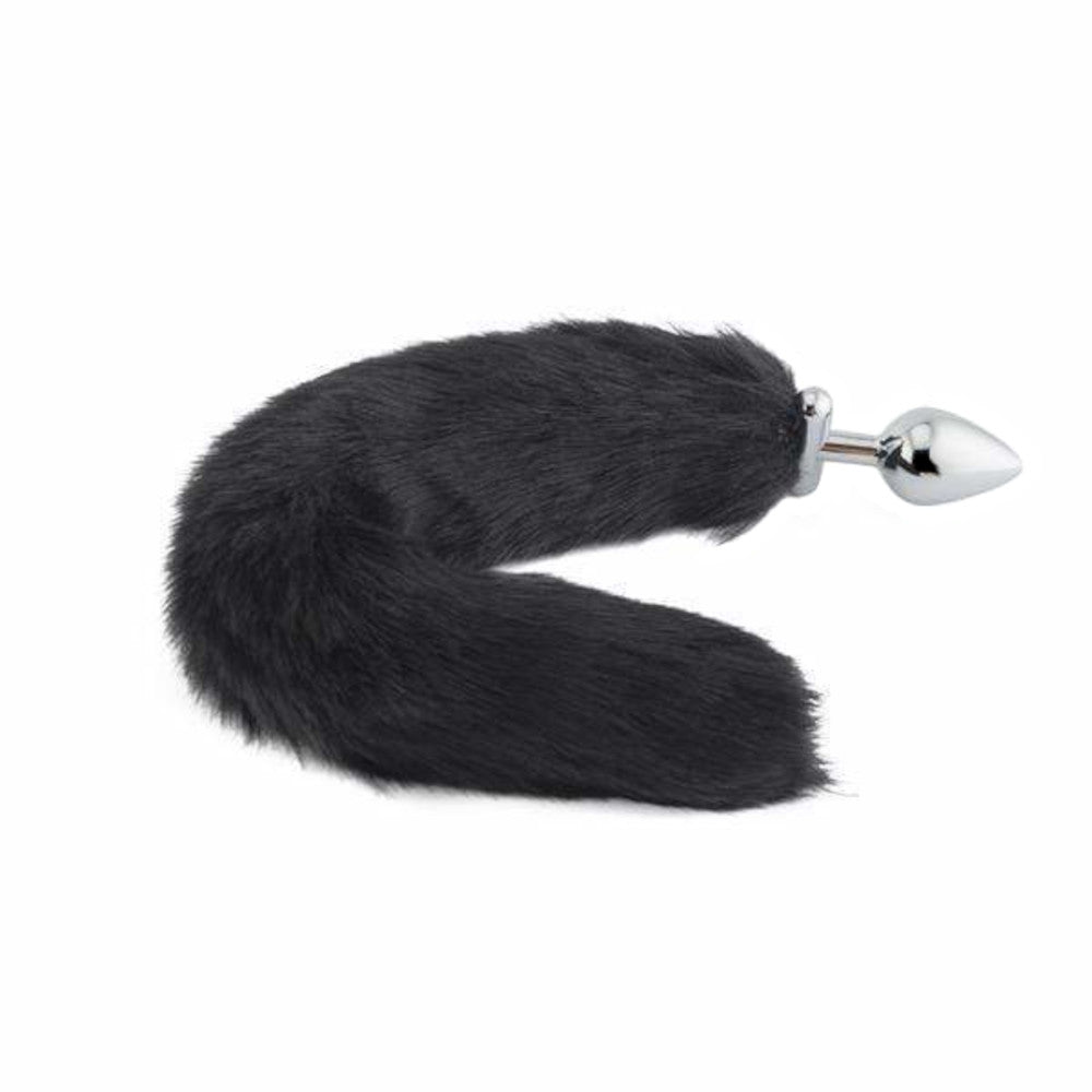 "18"" Screwed Black Fox Tail Metal Butt Plug"