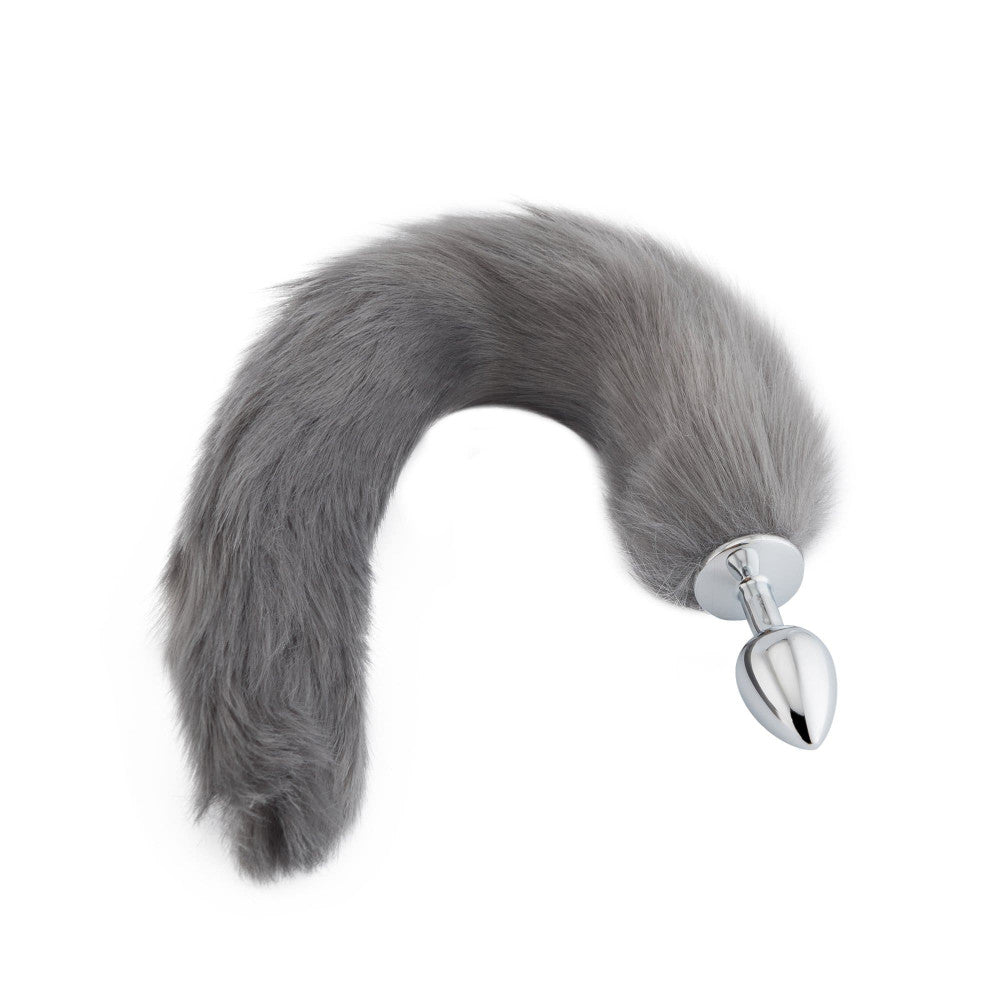 "18"" Grey Fox Tail Butt Plug"