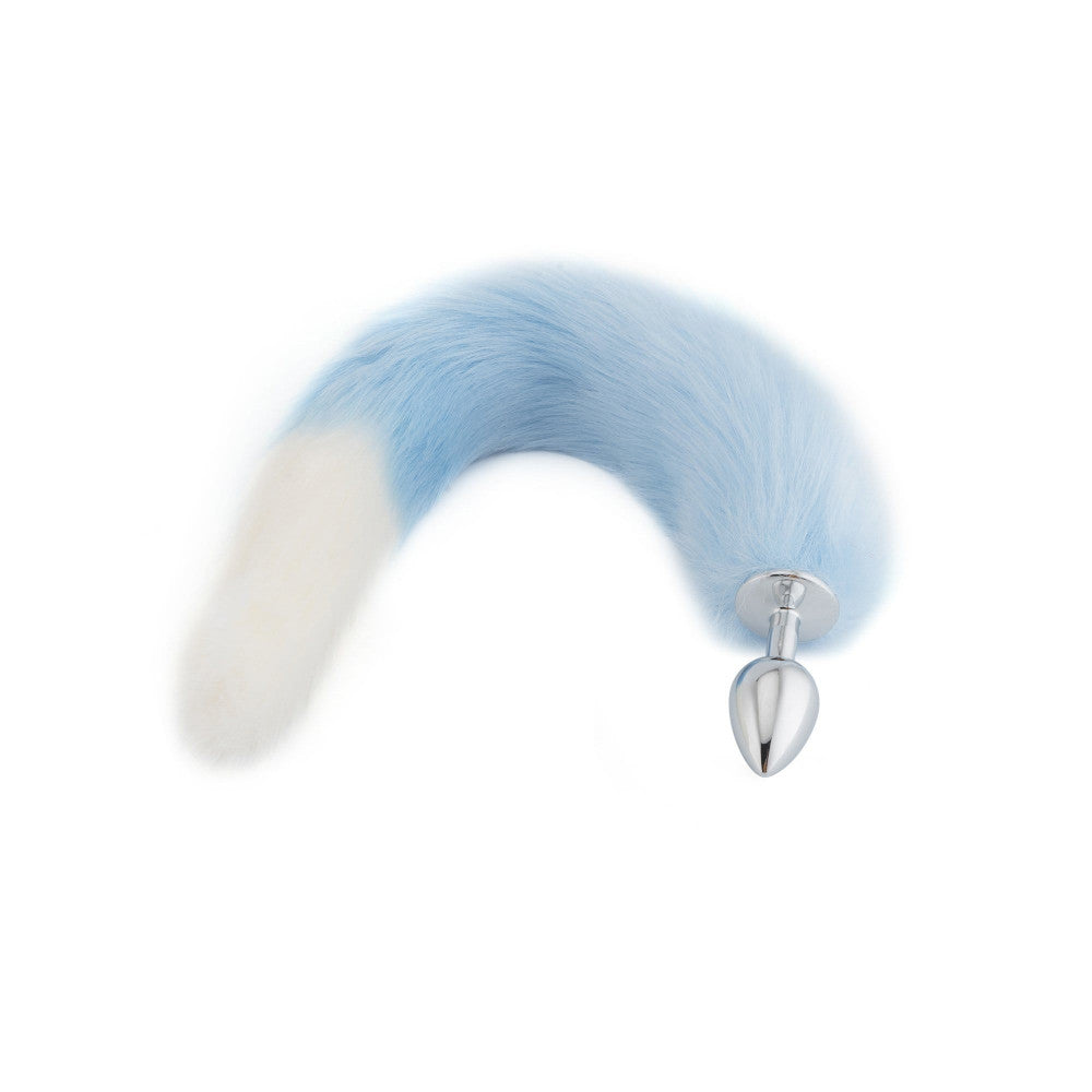 "18"" Light Blue with White Fox Tail Butt Plug"