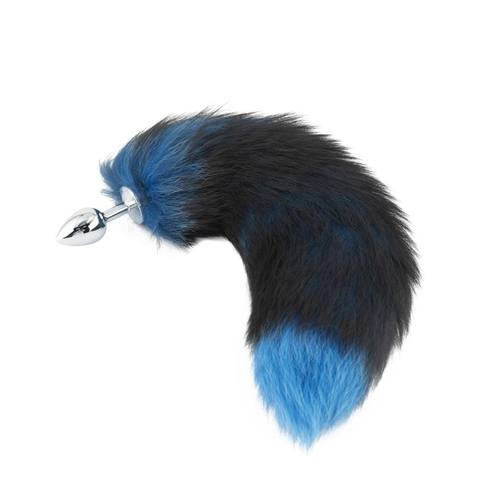 Fox Tail Stainless Steel Butt Plug, Black and Blue 17""
