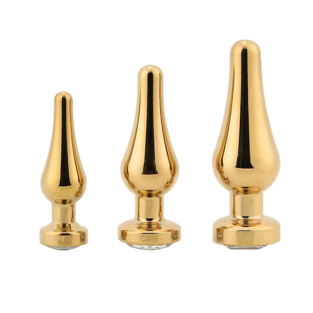Tapered Gold Jeweled Plug 3 Piece Set