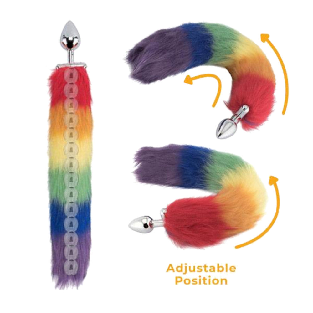 "18"" Screwed Rainbow Colored Fox Tail Metal Plug"