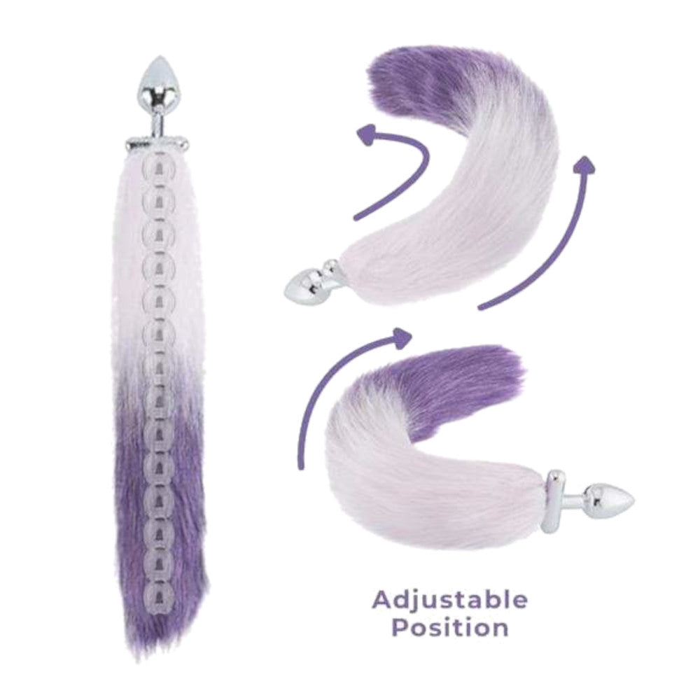 "18"" Screwed White With Purple Fox Tail Metal Plug"
