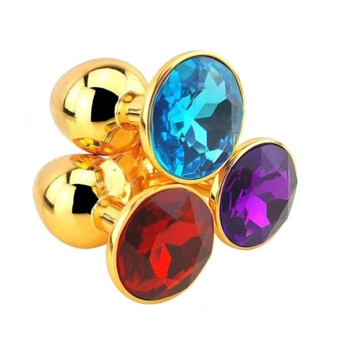 "12 Colors Jeweled 3"" Golden Metal Plug"