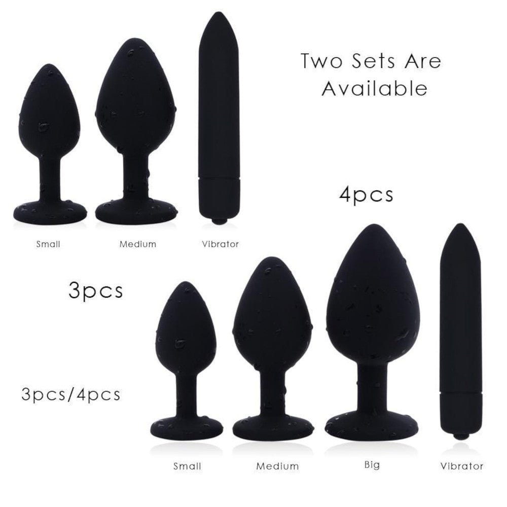 3 Sizes Purple Jeweled Black Silicone Princess Butt Plug