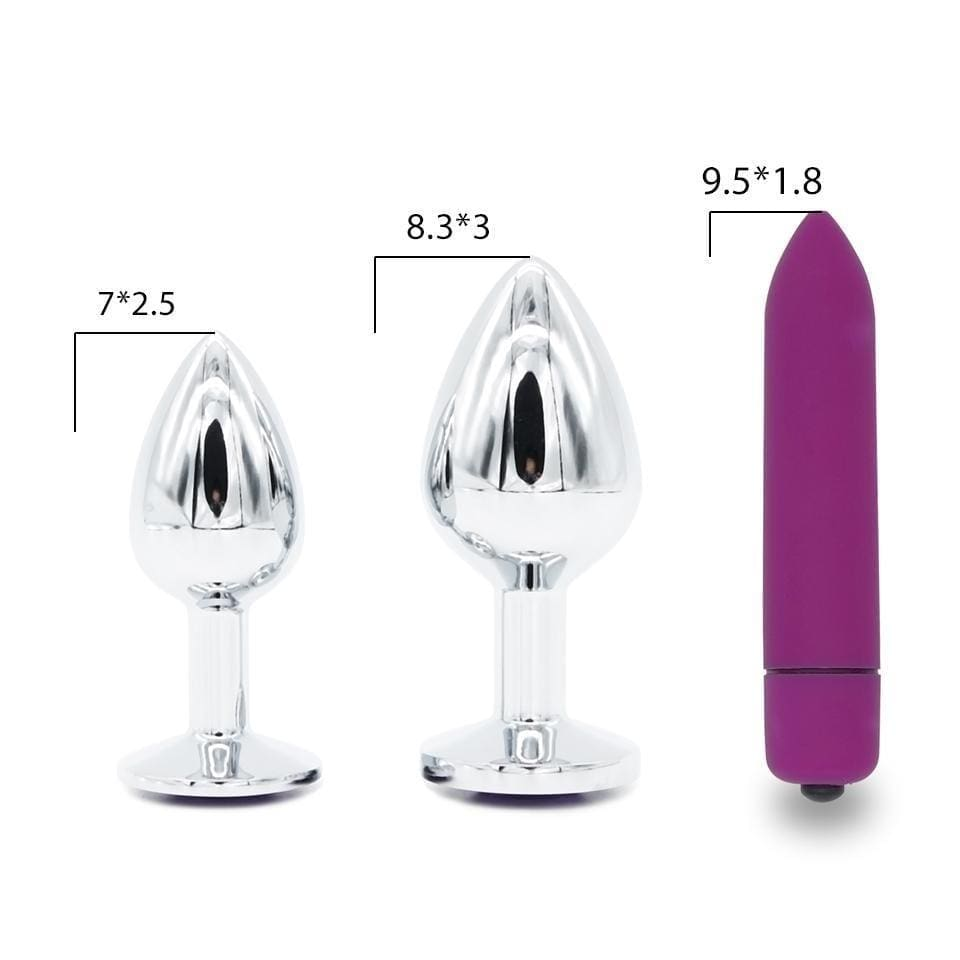 "Purple Jeweled 3"" Stainless Steel Butt Plug"