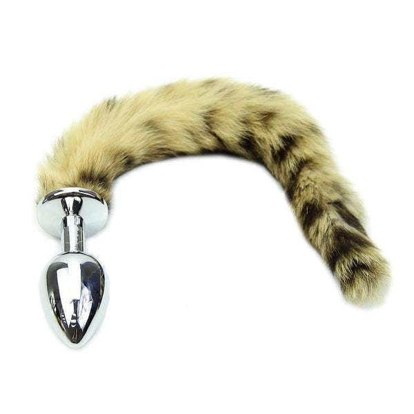 "8"" Tail Khaki and black Raccoon Tail Stainless steel plug"