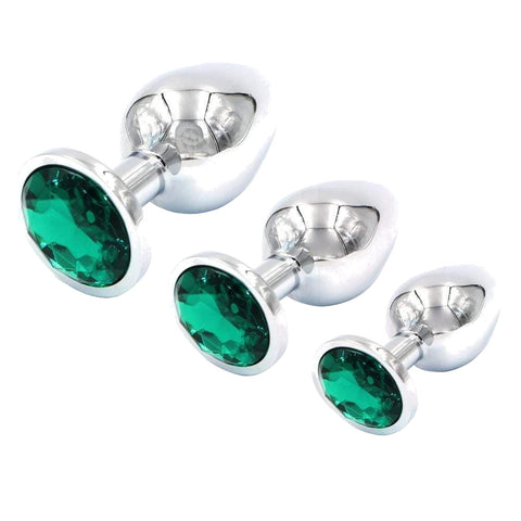 3 Pieces Multi Color Jewel-plated Stainless steel plug
