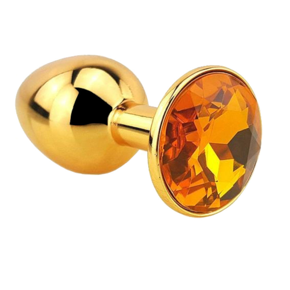 "12 Colors Jeweled 3"" Golden Metal Butt Plug"