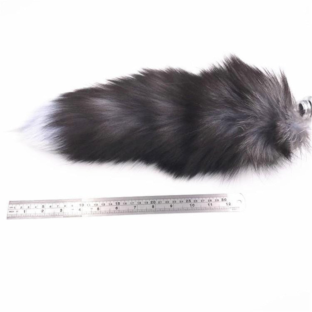 "15"" Dark Fox Tail with Pink Silicone Princess-type Plug and Extra Vibrator"