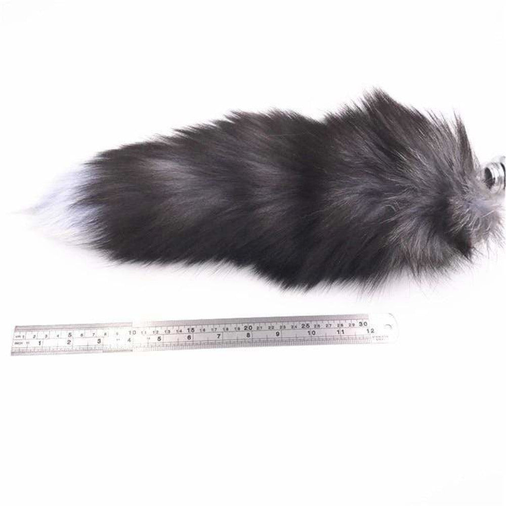 "15"" Dark Fox Tail with Black Silicone Plug and Extra Vibrator"