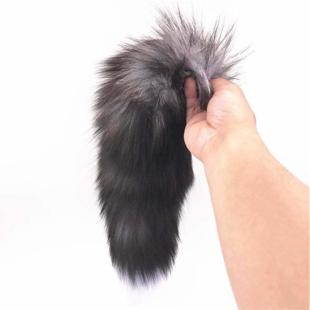"15"" Dark Fox Tail with Ribbed-type Princess Plug and Extra Vibrator"
