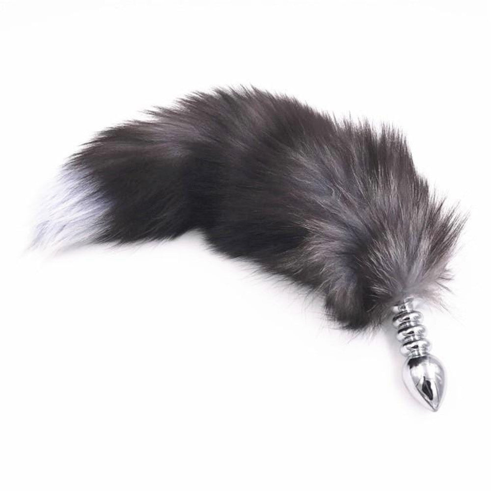 "15"" Dark Fox Tail with Ribbed-type Stainless Steel Plug and Extra Vibrator"