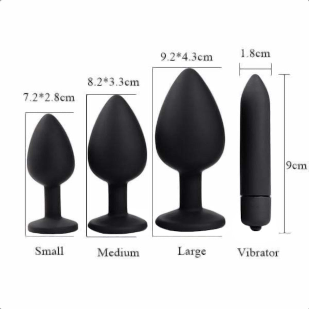 3 Sizes Clear Jeweled Black Silicone Princess Butt Plug