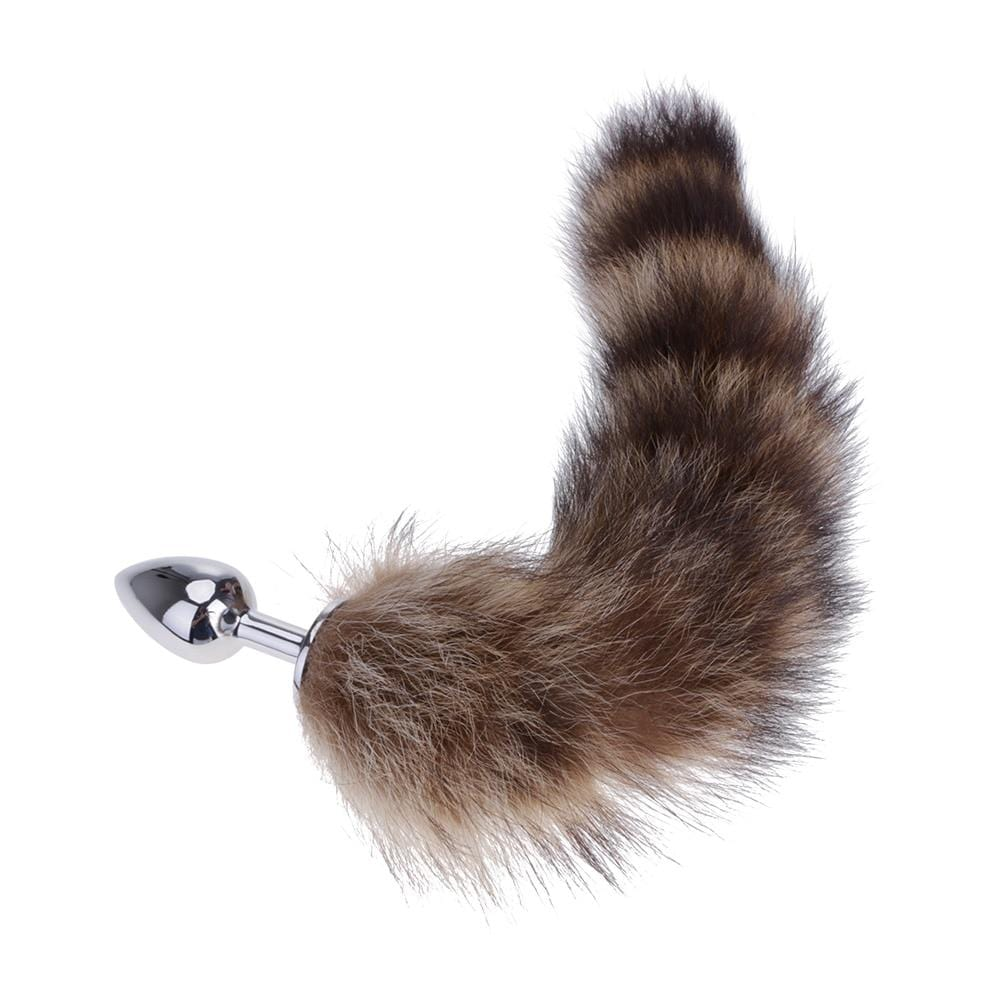 "14"" Furry Brown Fox Tail with Metal Butt Plug"