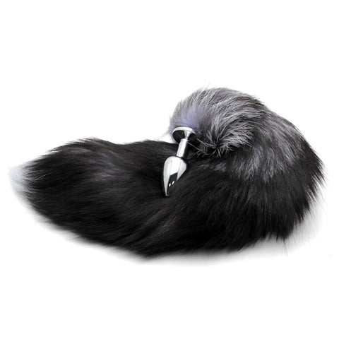 "17"" Black Fox Tail with Stainless Steel Princess Butt Plug"