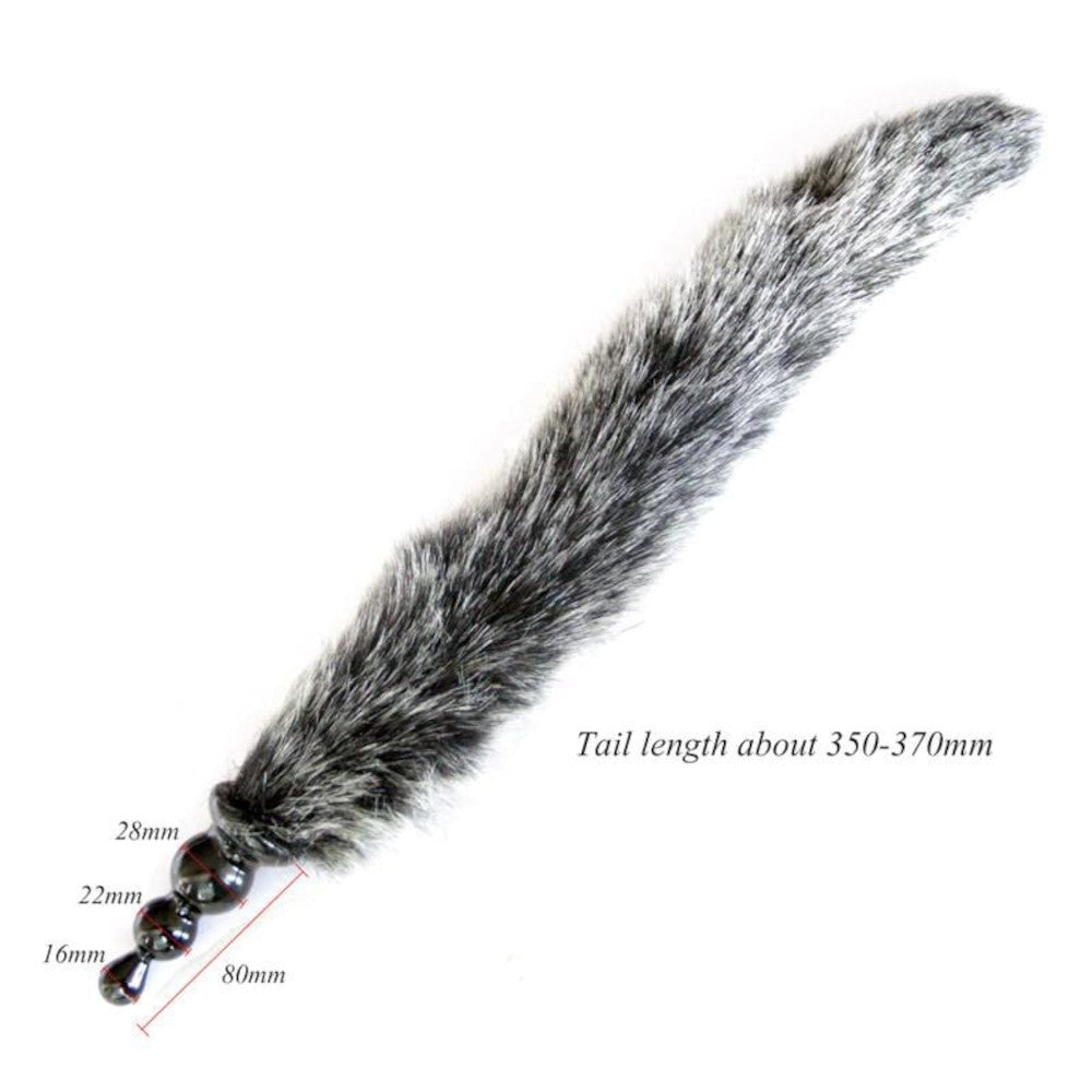 "14"" Salt and Pepper Fox Tail with Silicone Butt Plug"