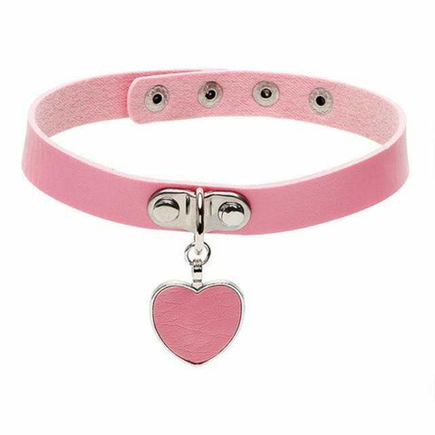 LolliPup Leather Collar With Sexy Heart Pendant