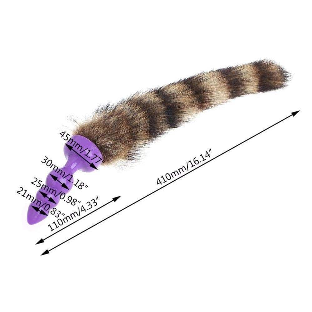 "12"" Raccoon Tail Butt Plug Silicone"