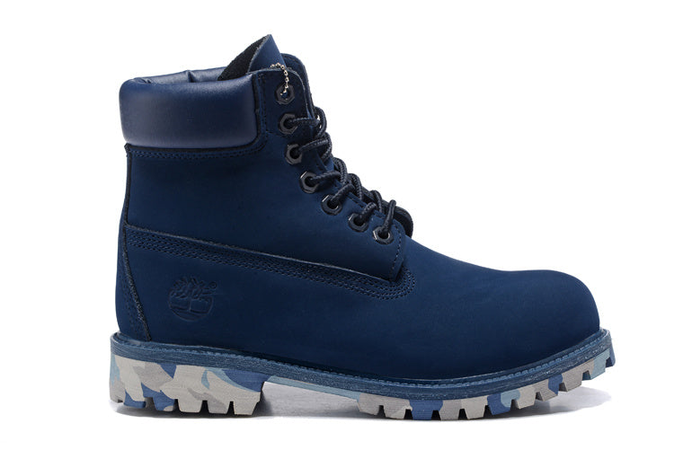 UK Timberland Men Navy Blue 6 Inch Premium Camo Outsole Boots