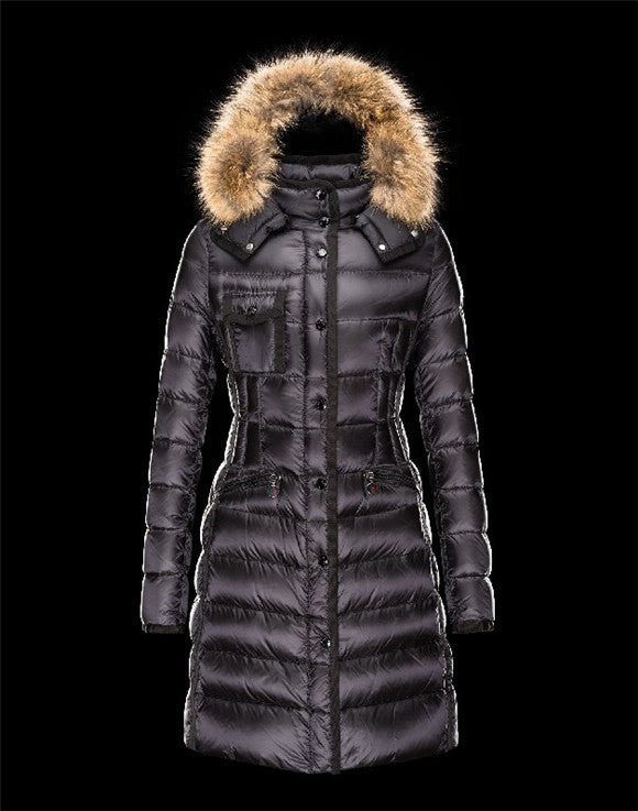 Moncler HERMIFUR Ultralight Turtleneck Black Coats Nylon/Racoon Womens 41456718AR ...