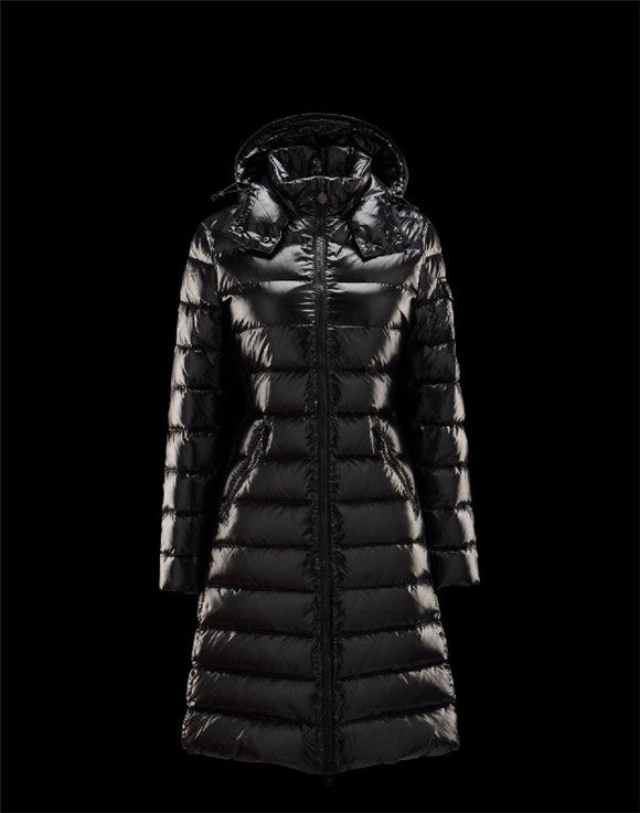 Moncler Moka Detachable Hood Black Coats Lacquered Nylon Womens 41224531KD ...