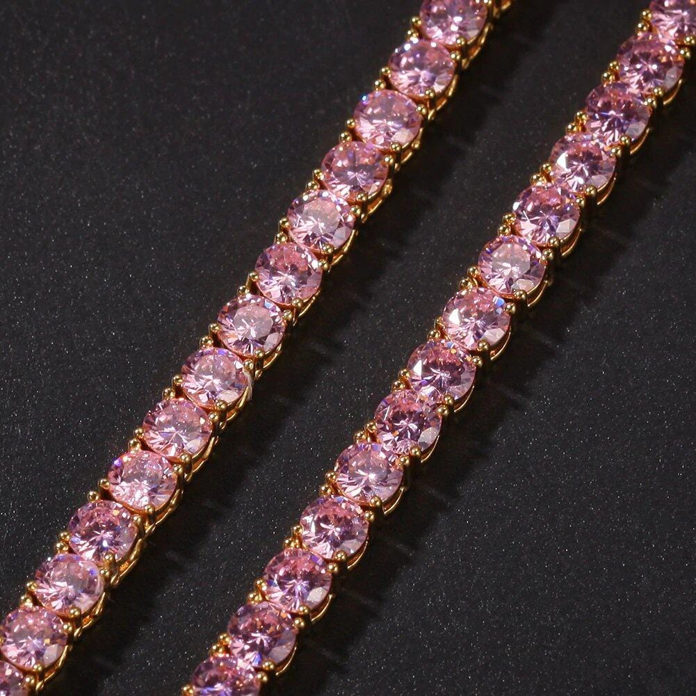 Diamond Tennis Chain 4mm Rose gold with Pink stones GSG