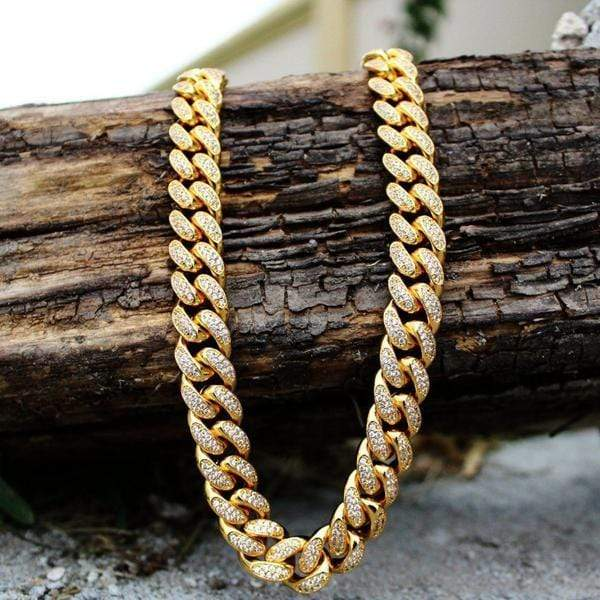 18K GP 12mm Iced Out Miami Cuban Link Chain Y-GEM