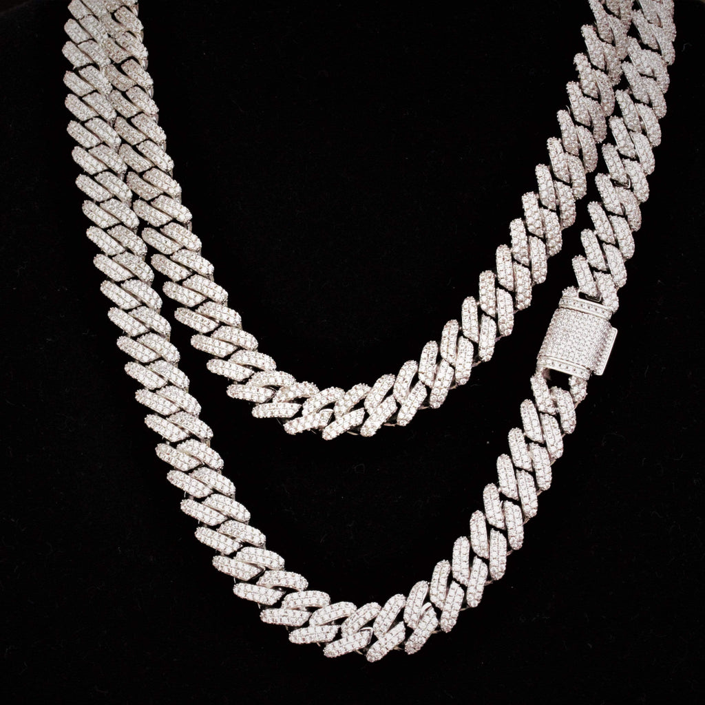 Cuban Link Chain Cz Diamond White Gold 12mm GSG