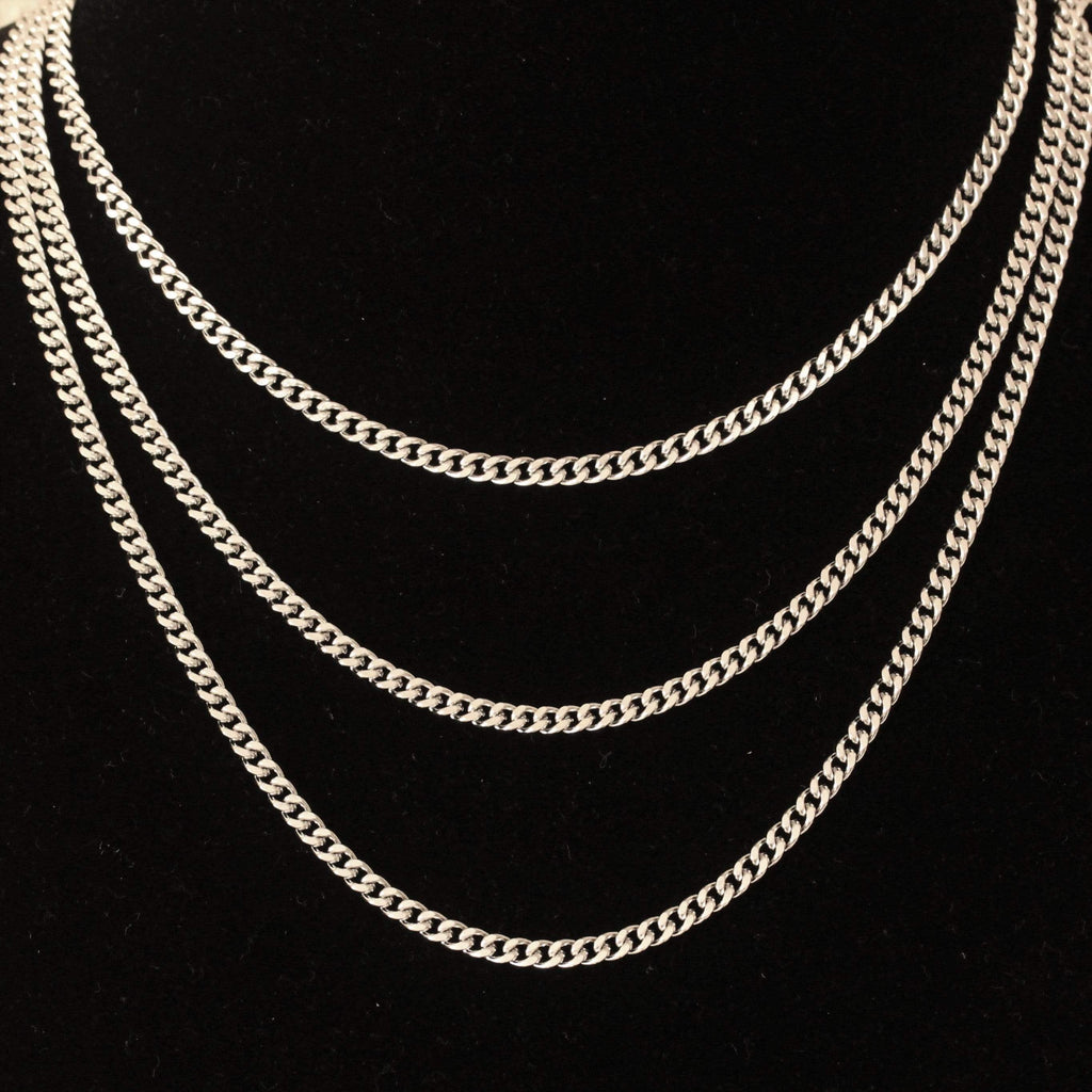 3MM GSG Cuban Link Chain White Gold