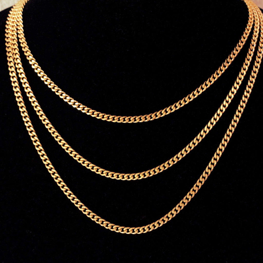3MM Cuban Link Chain Yellow Gold GSG