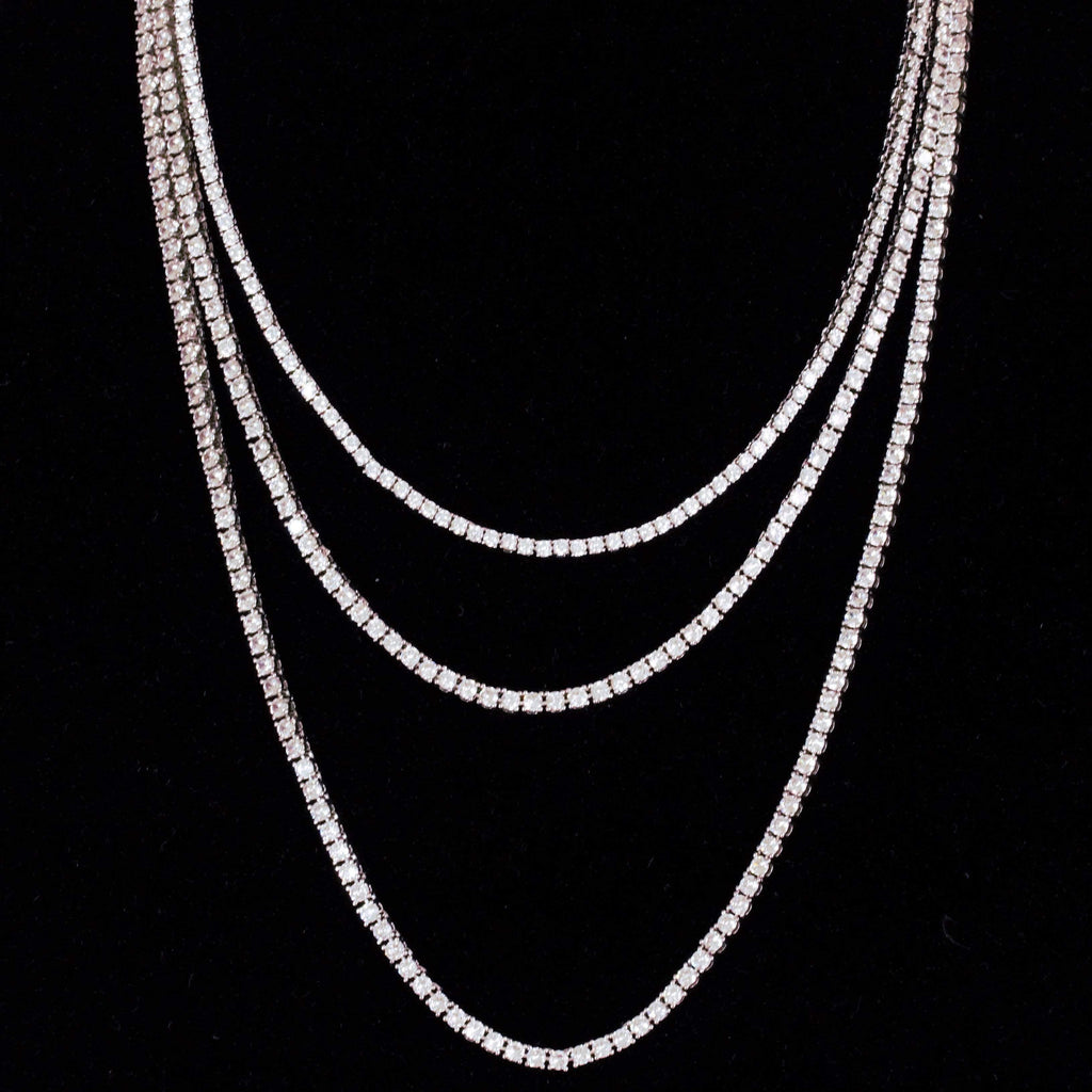 18k 3MM White Gold Tennis Chain GSG