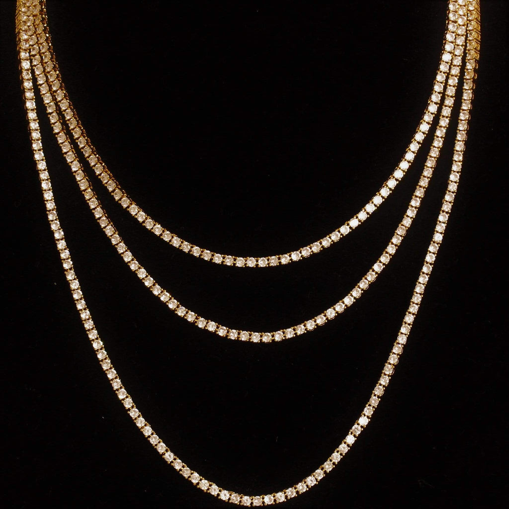 18k 3MM Yellow Gold Diamond Tennis Chain GSG