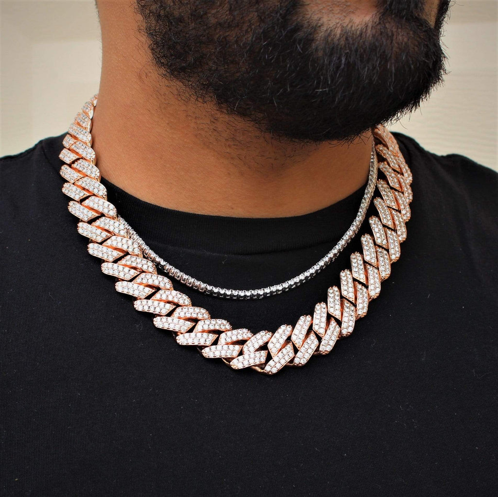 19MM Cuban Link Chain Rose Gold Y-GEM