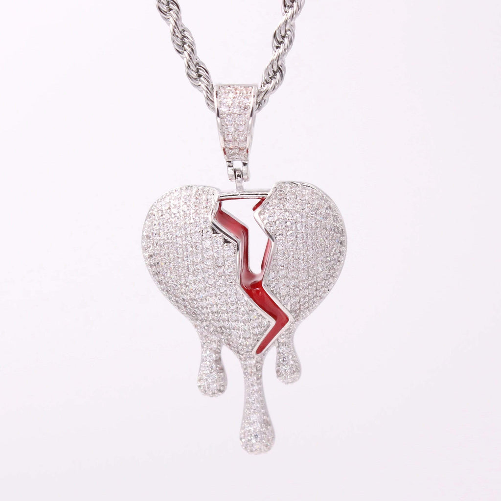 Dripping Broken Heart Cz Diamond Pendant GSG