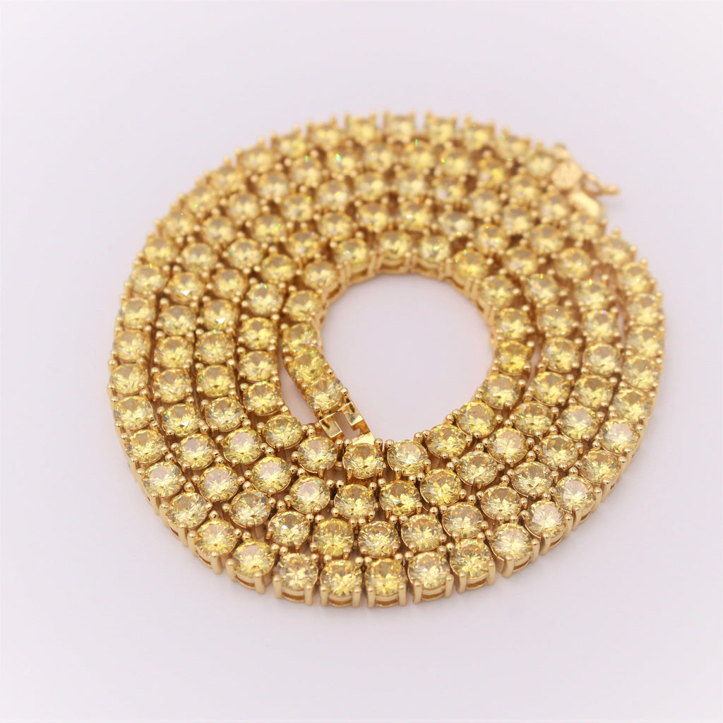 Diamond Tennis Chain 4mm Yellow Canary GSG