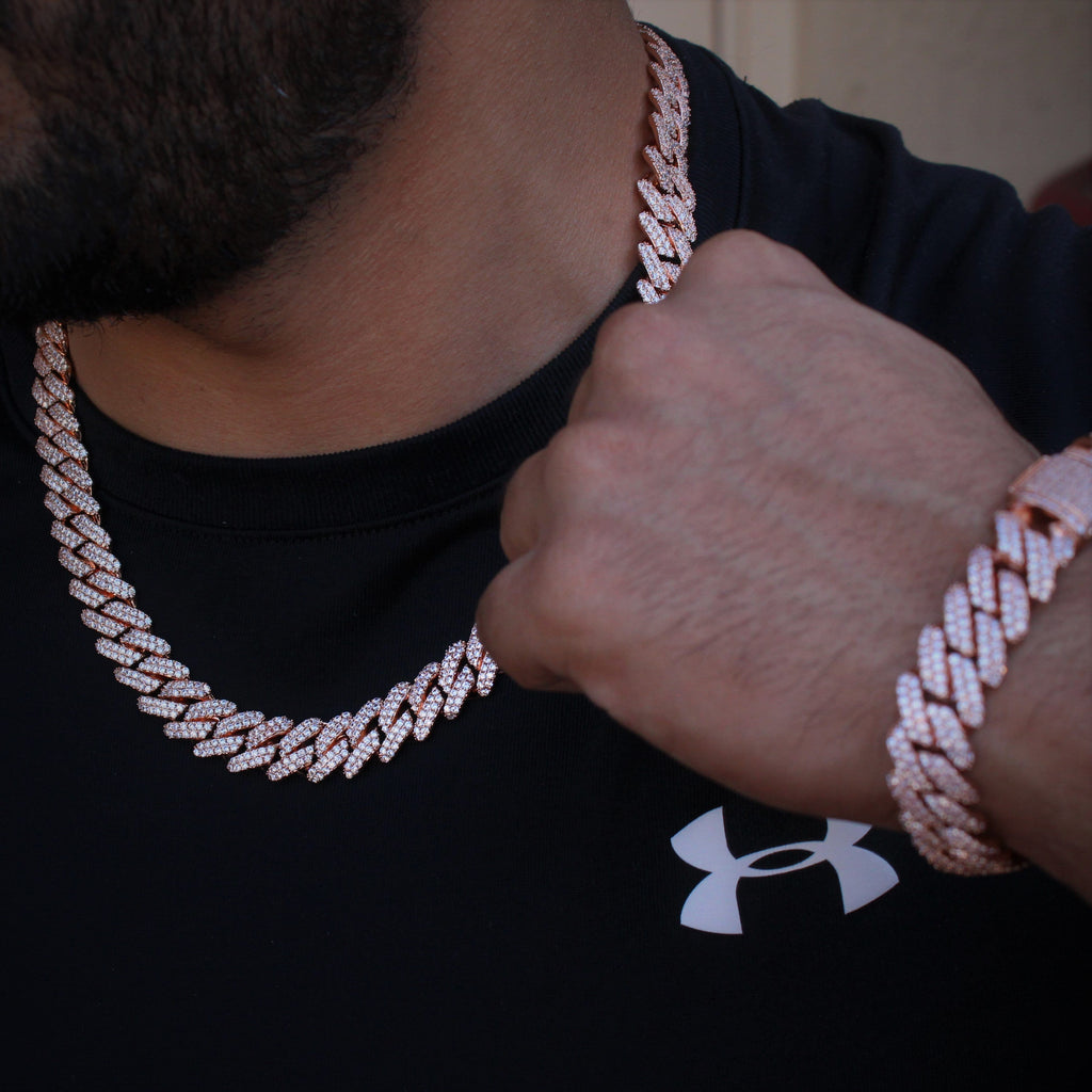 Cuban Link Choker Set Rose Gold Cz Diamond 12MM GSG