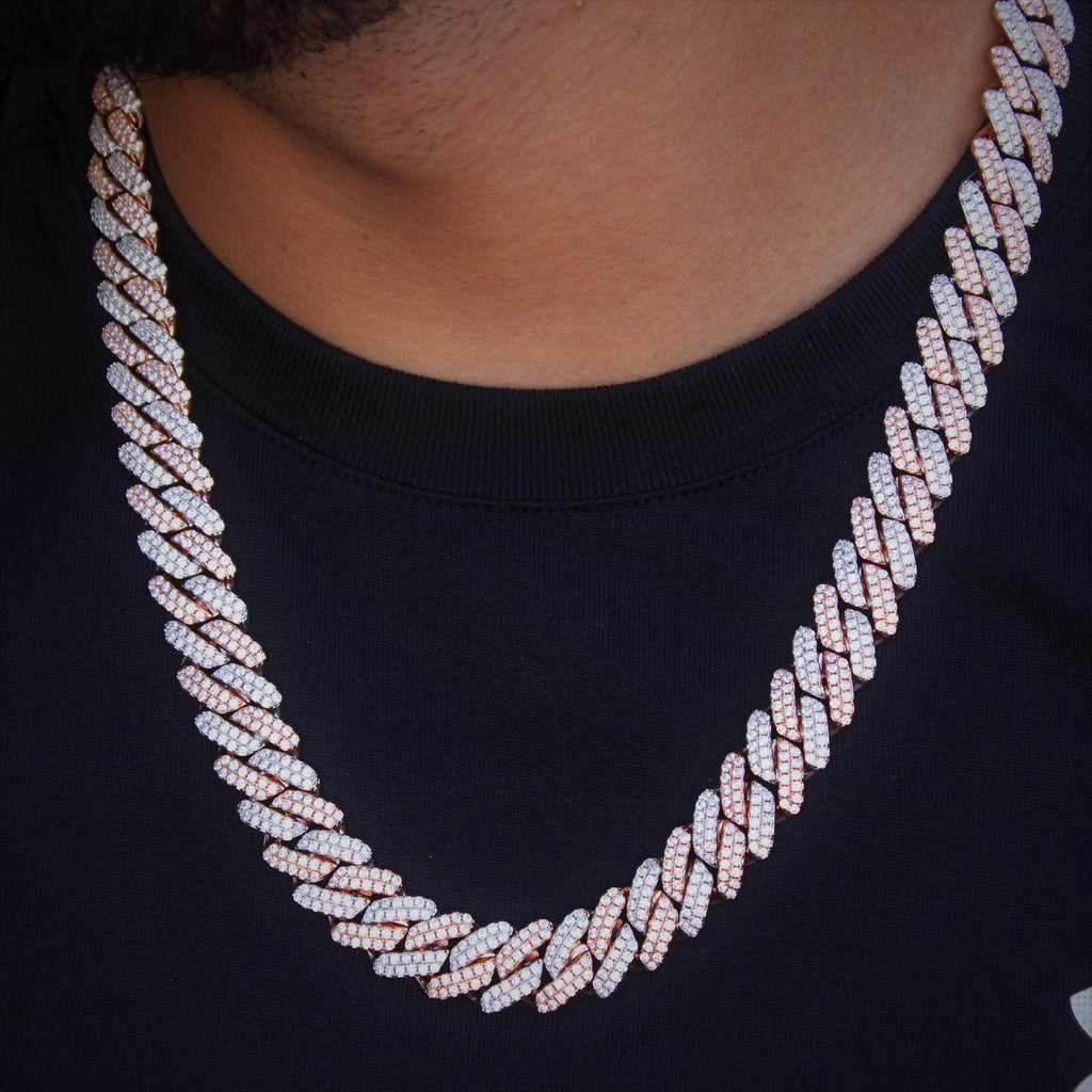 Cuban Link Chain Cz Diamond Two Tone 12MM GSG